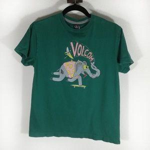 Volcom skater elephant green graphic tee